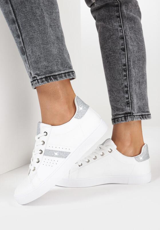 Biało-Srebrne Buty Sportowe Thonisise