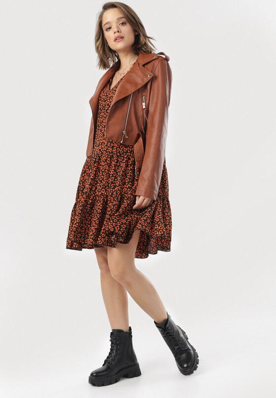 Czarno-Pomarańczowa Sukienka Berinerris
