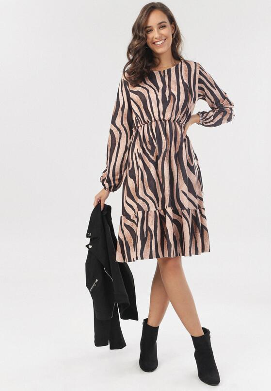 Czarno-Beżowa Sukienka Amalinei