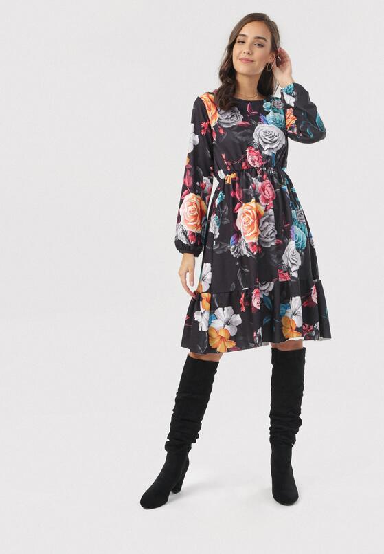 Granatowo-Niebieska Sukienka Jesenia