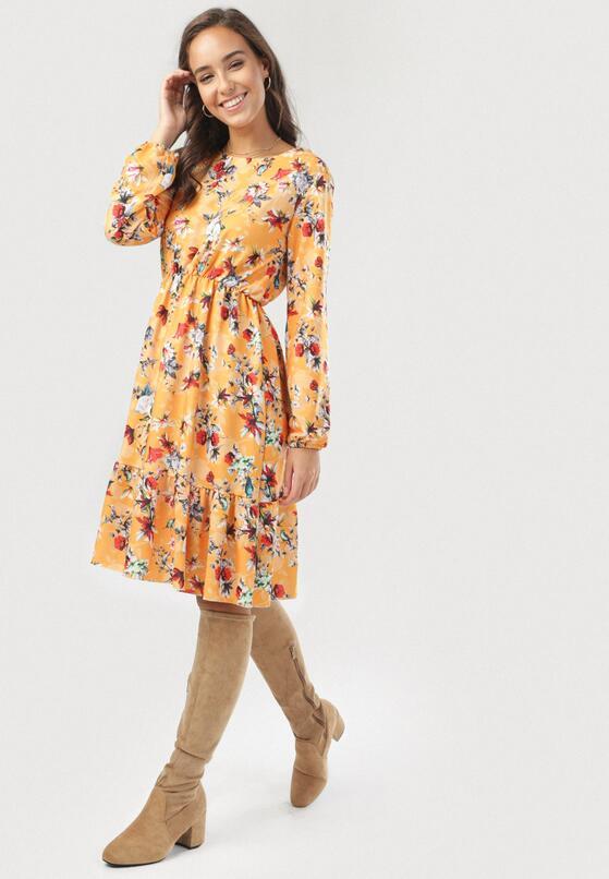 Żółto-Bordowa Sukienka Amalinei