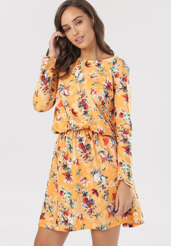 Żółto-Bordowa Sukienka Cheena
