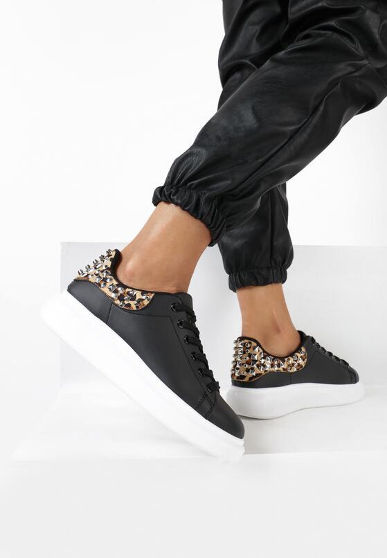 Czarno-Panterkowe Sneakersy Yashira