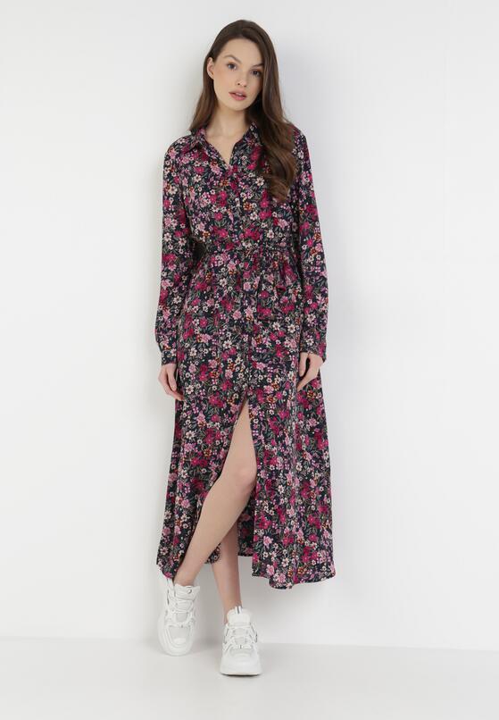 Granatowo-Fuksjowa Sukienka Iaira