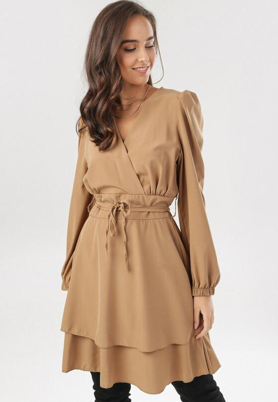 Ciemnobeżowa Sukienka Holaqen