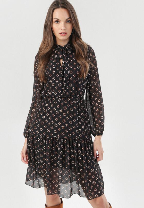 Czarno-Beżowa Sukienka Zaehnessa