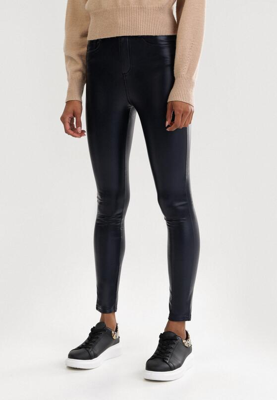 Granatowe Spodnie Push Up Elrinanya