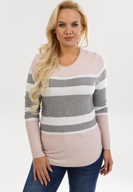 Różowo-Szary Sweter Xylysh