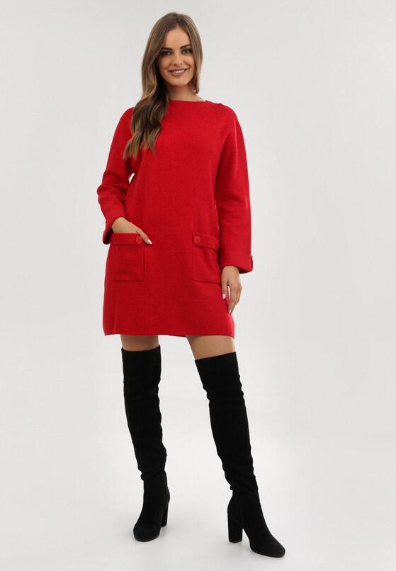 Czerwona Sukienka Dzianinowa Lamirane
