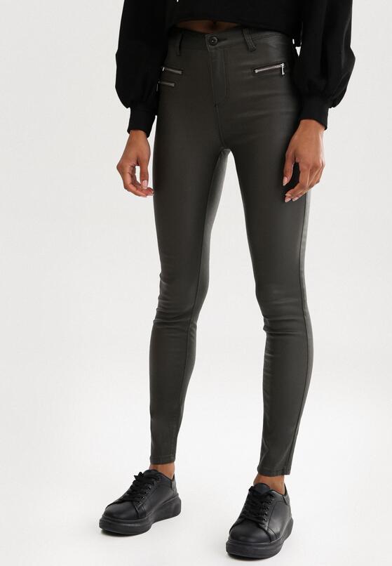 Ciemnozielone Spodnie Skinny Klemene
