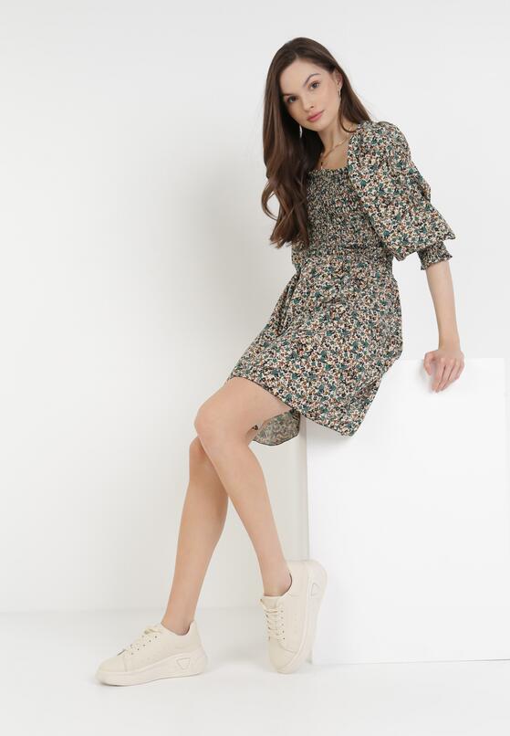 Kremowo-Zielona Sukienka Fontave