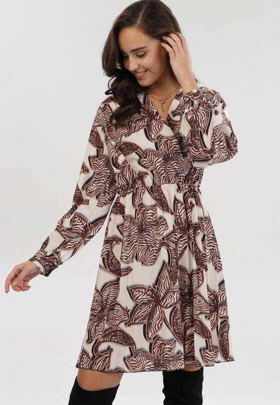 Kremowo-Brązowa Sukienka Dynoth