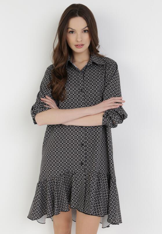 Czarno-Beżowa Sukienka Azeraris
