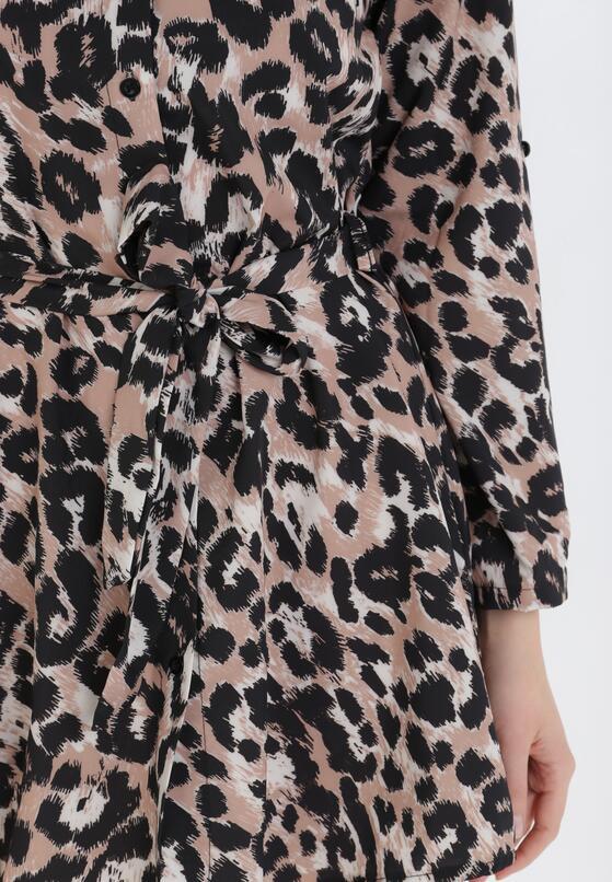 Czarno-Beżowa Sukienka Freebranch
