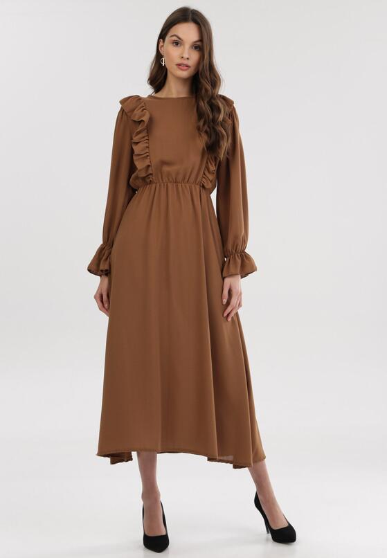 Ciemnobeżowa Sukienka Roughhair