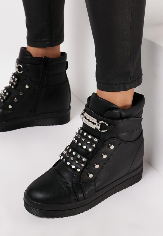 Czarne Sneakersy Na Ukrytym Koturnie Liondreamer