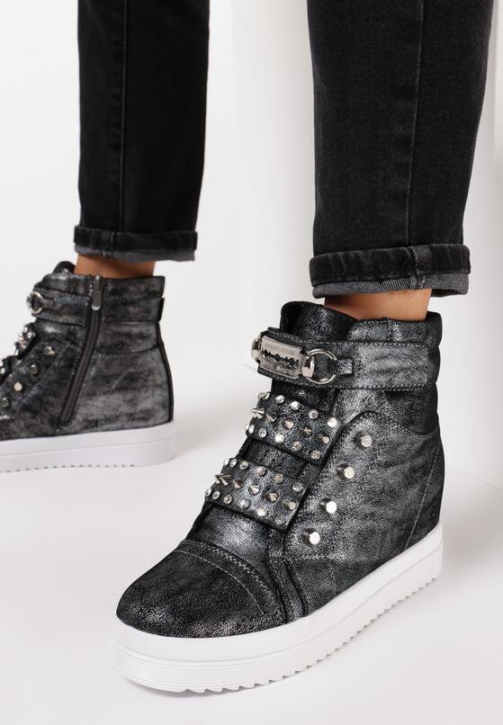 Srebrne Sneakersy Na Ukrytym Koturnie Sneezy