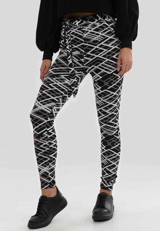 Czarno-Białe Spodnie Gervendor