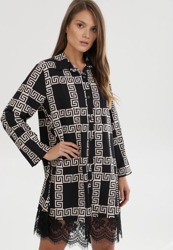 Czarno-Beżowa Sukienka Nikhorn