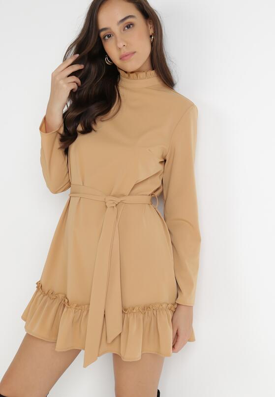 Beżowa Sukienka Leodi