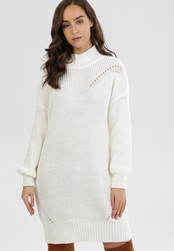 Biała Sukienka Z Wełną Qinyra