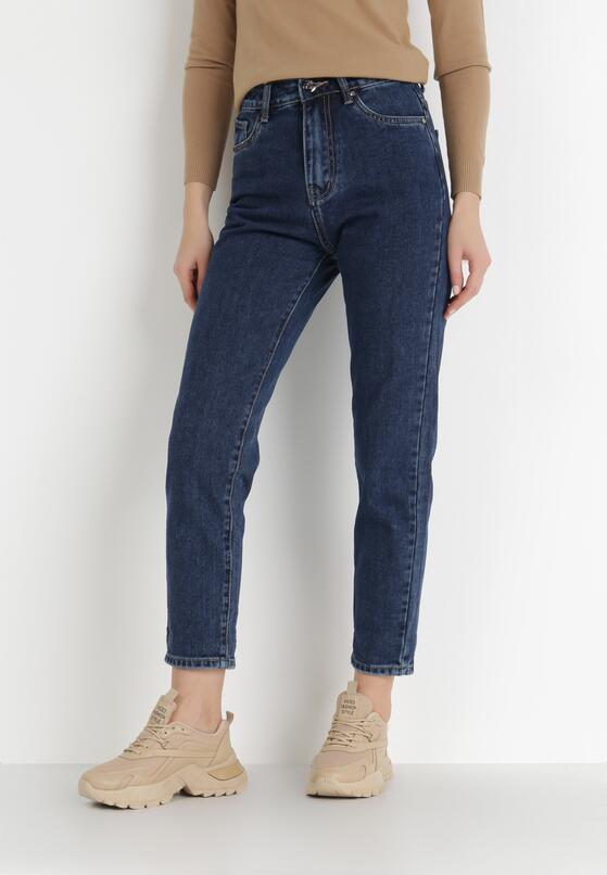 Granatowe Jeansy Mom Fit Shimmerwillow