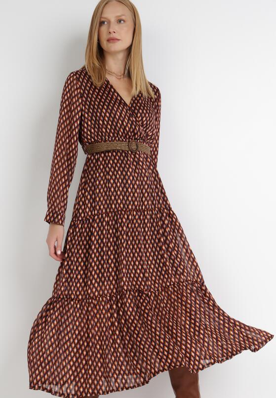 Czarno-Pomarańczowa Sukienka Nesasis