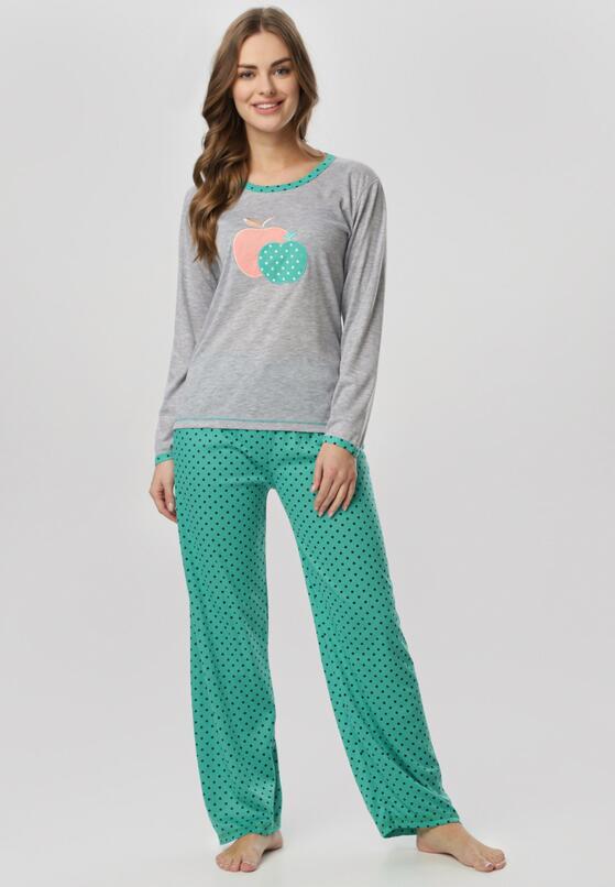 Szaro-Zielony Komplet Piżamowy Yamare