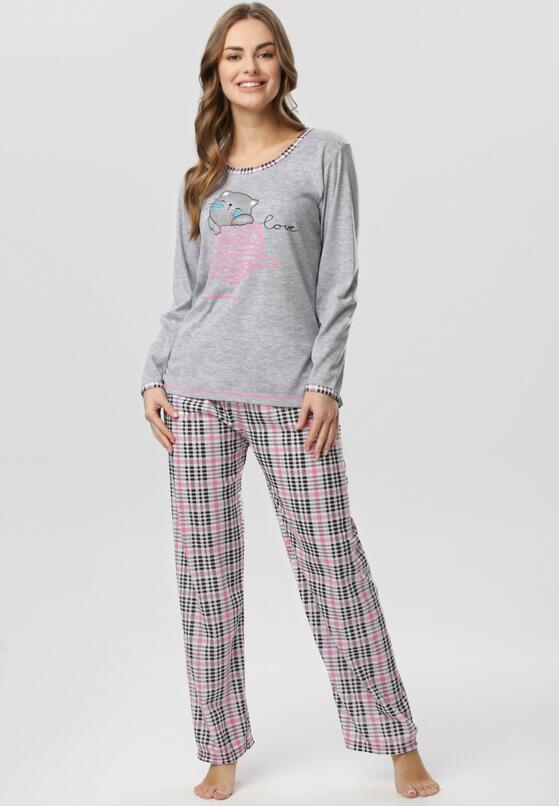 Różowo-Szary Komplet Piżamowy Olethoe