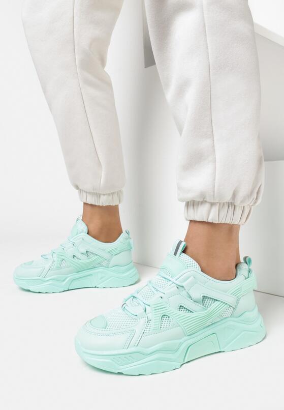 Miętowe Sneakersy Wilhelmina