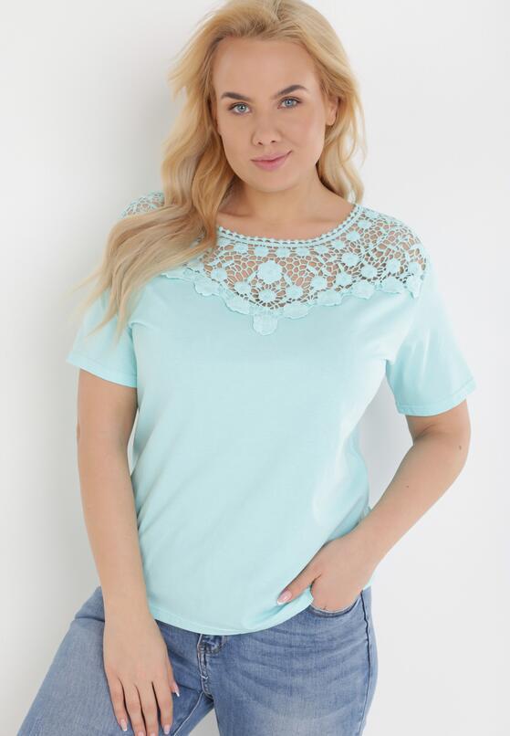 Miętowy T-shirt Zeuxose