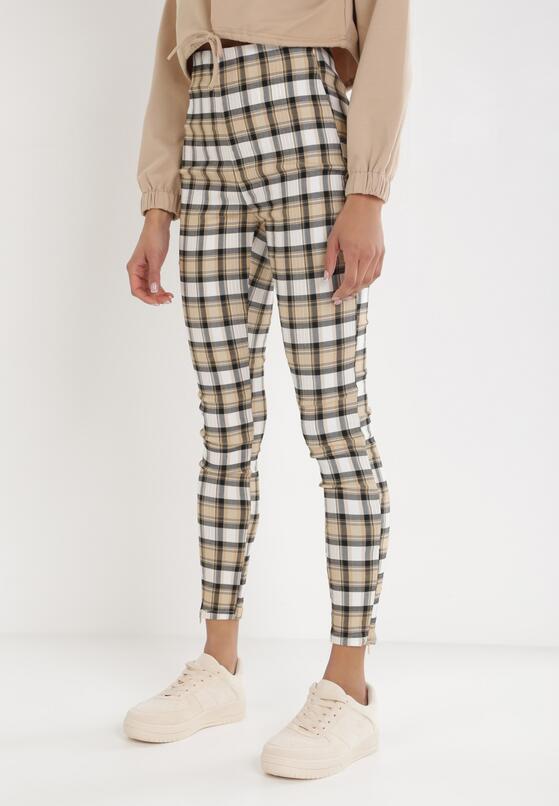 Beżowe Spodnie Skinny Klephenia