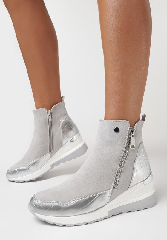 Szare Sneakersy Meridelin