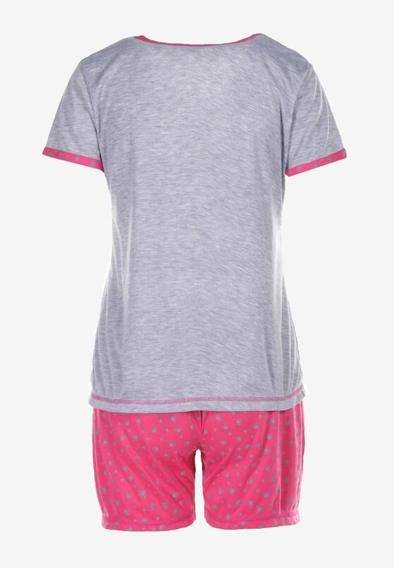 Szaro-Fuksjowy Komplet Piżamowy Celanara