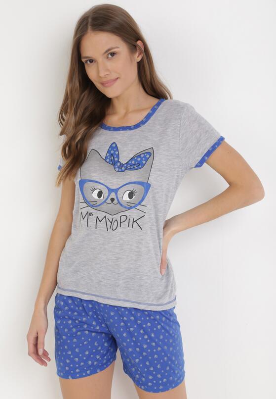 Niebiesko-Szary Komplet Piżamowy Celanara