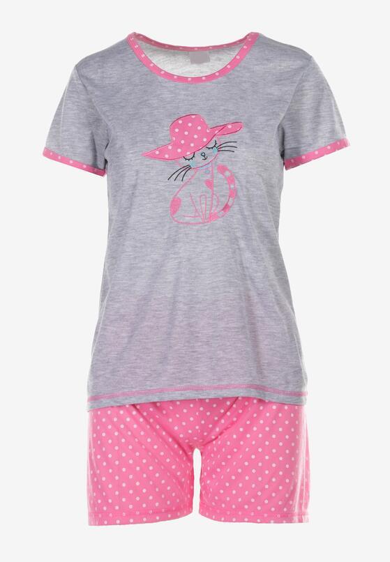 Szaro-Różowy Komplet Piżamowy Phiodeia