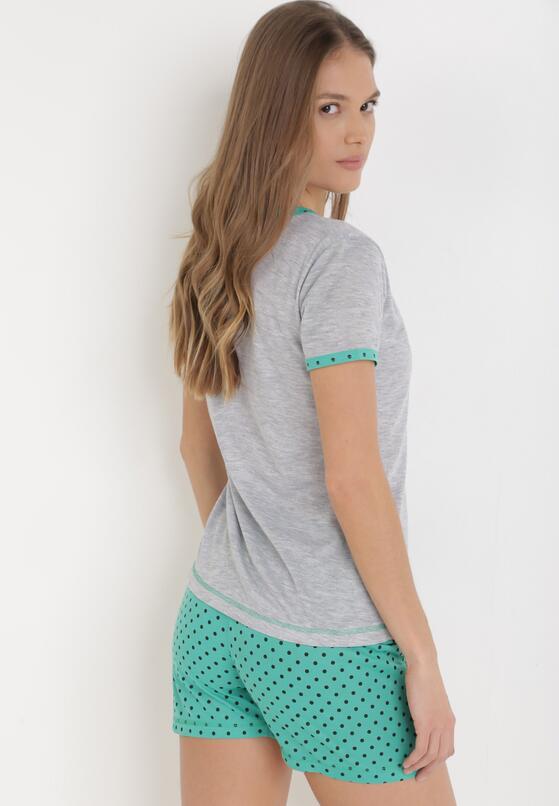 Szaro-Zielony Komplet Piżamowy Phiodeia