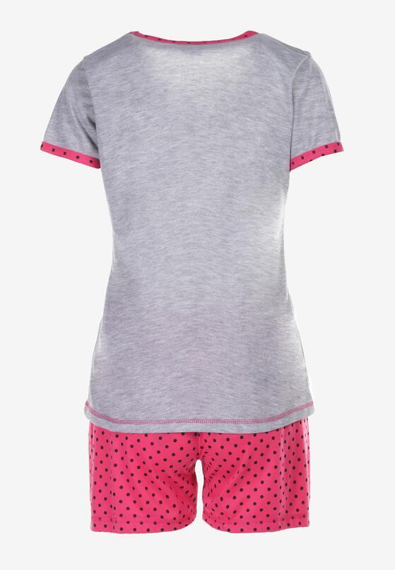 Szaro-Fuksjowy Komplet Piżamowy Phiodeia