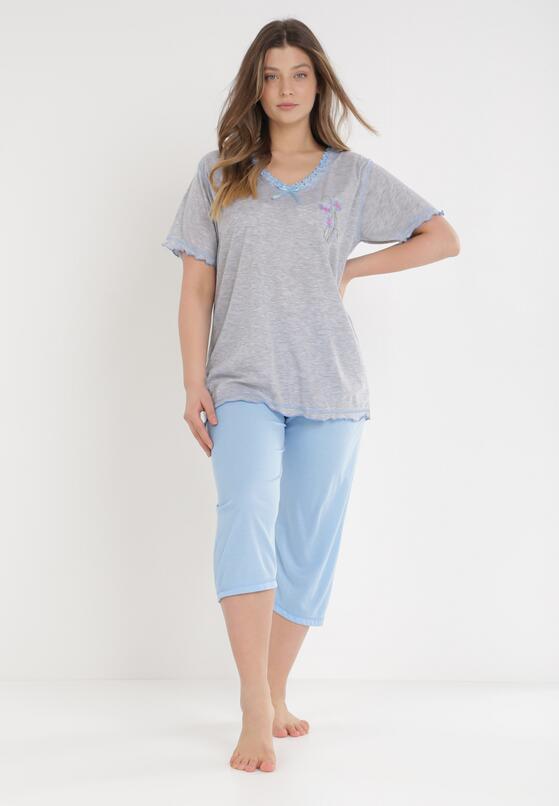 Niebiesko-Szary Komplet Piżamowy Genirissa