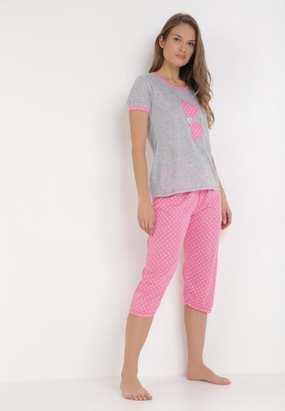 Różowo-Szary Komplet Piżamowy Sabritea