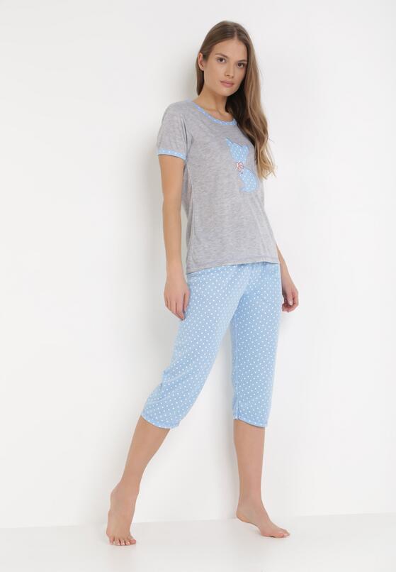 Szaro-Niebieski Komplet Piżamowy Sabritea
