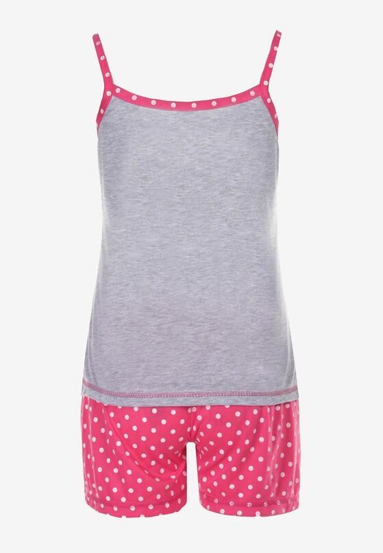 Szaro-Różowy Komplet Piżamowy Palamine