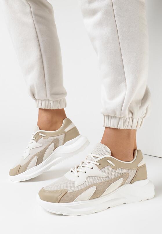 Beżowe Sneakersy Diame
