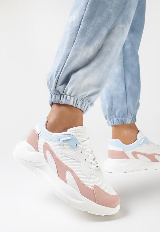 Biało-Różowe Sneakersy Diame