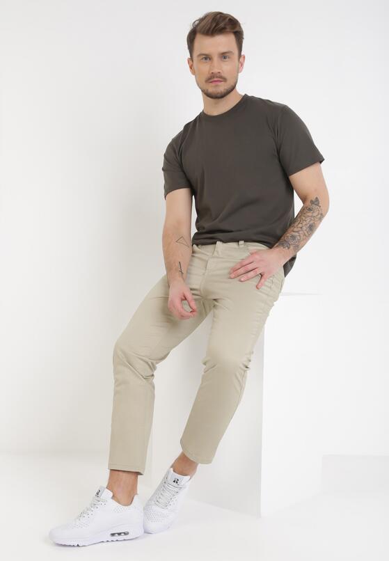 Beżowe Spodnie Regular Caerthynna