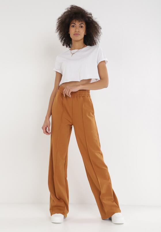 Camelowe Spodnie Szerokie Geniriel