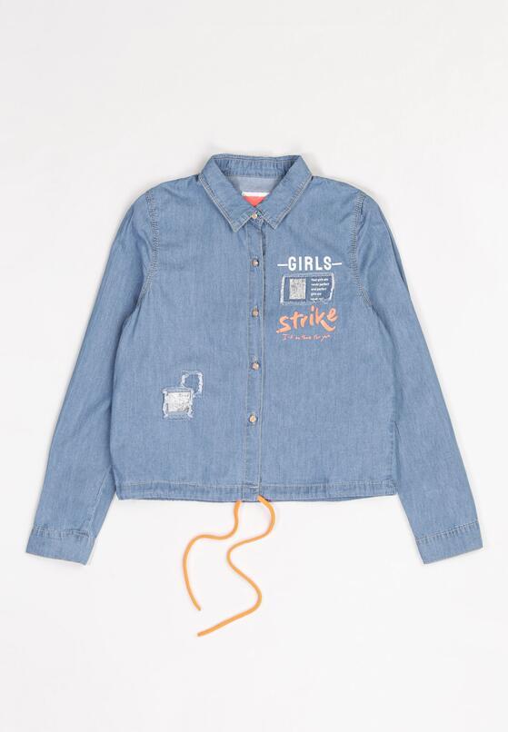 Niebiesko-Pomarańczowa  Jeansowa Koszula Ilathusa