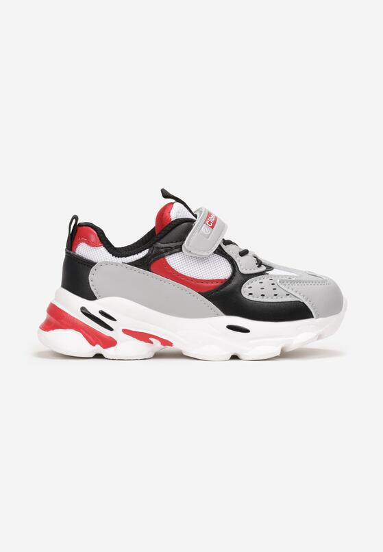Szaro-Czerwone Buty Sportowe Aebby