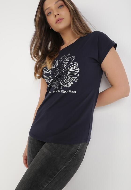 Granatowy T-shirt Cayetlin