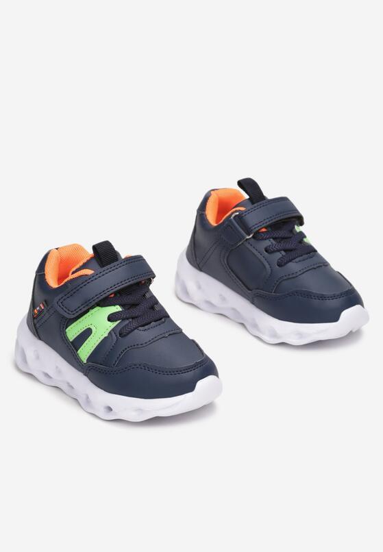 Granatowo-Pomarańczowe Buty Sportowe LED Phidora